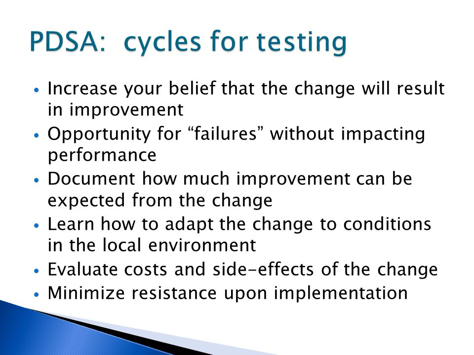 PDSA: cycles for testing
