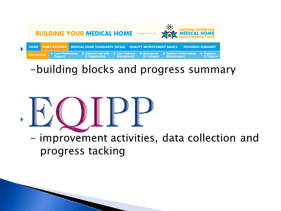 B -building blocks and progress summary. E. - improvement activities, data collection and.