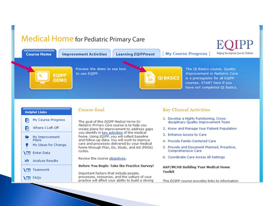 Course Home tab - Provides course goals and objectives. Lists Key Clinical Activities. Links to key areas within the course (Helpful Links)