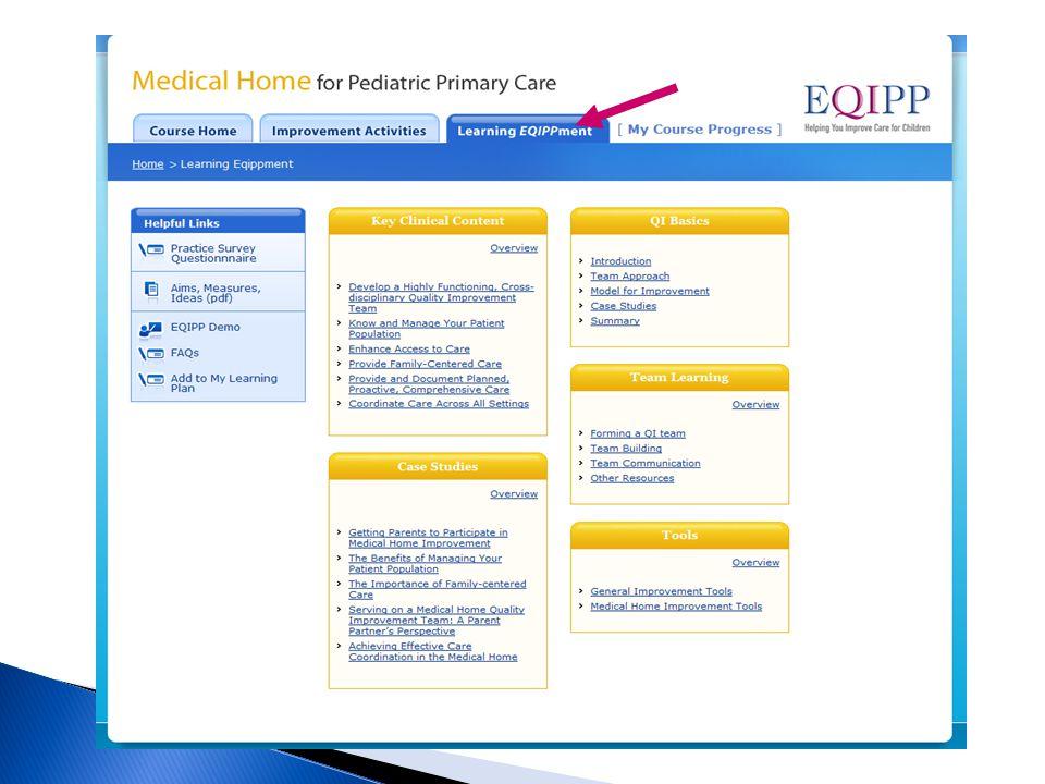 Learning EQIPPment QI Basics Key Clinical Content Case Studies Team Learning Tools