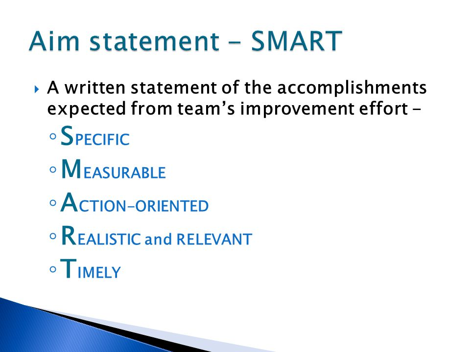 Aim statement - SMART SPECIFIC MEASURABLE ACTION-ORIENTED
