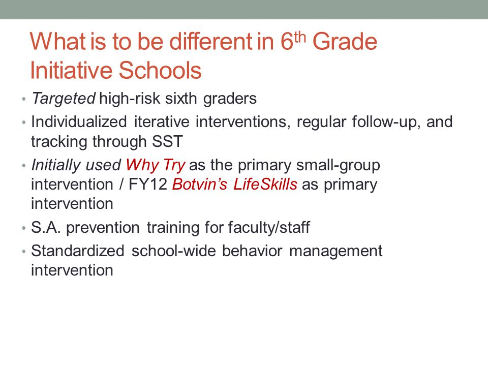What is to be different in 6th Grade Initiative Schools
