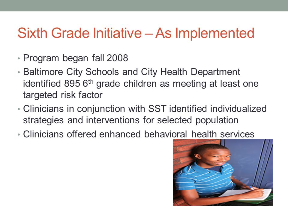 Sixth Grade Initiative – As Implemented