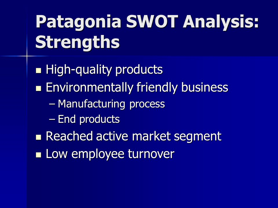 Patagonia SWOT Analysis: Strengths