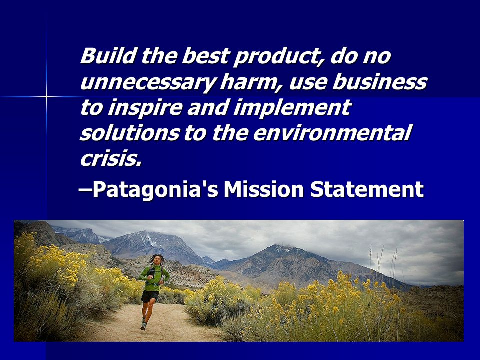 Build the best product, do no unnecessary harm, use business to inspire and implement solutions to the environmental crisis.