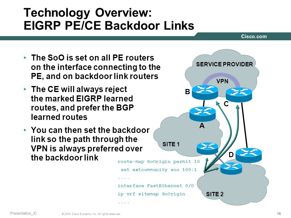 Technology Overview: EIGRP PE/CE Backdoor Links
