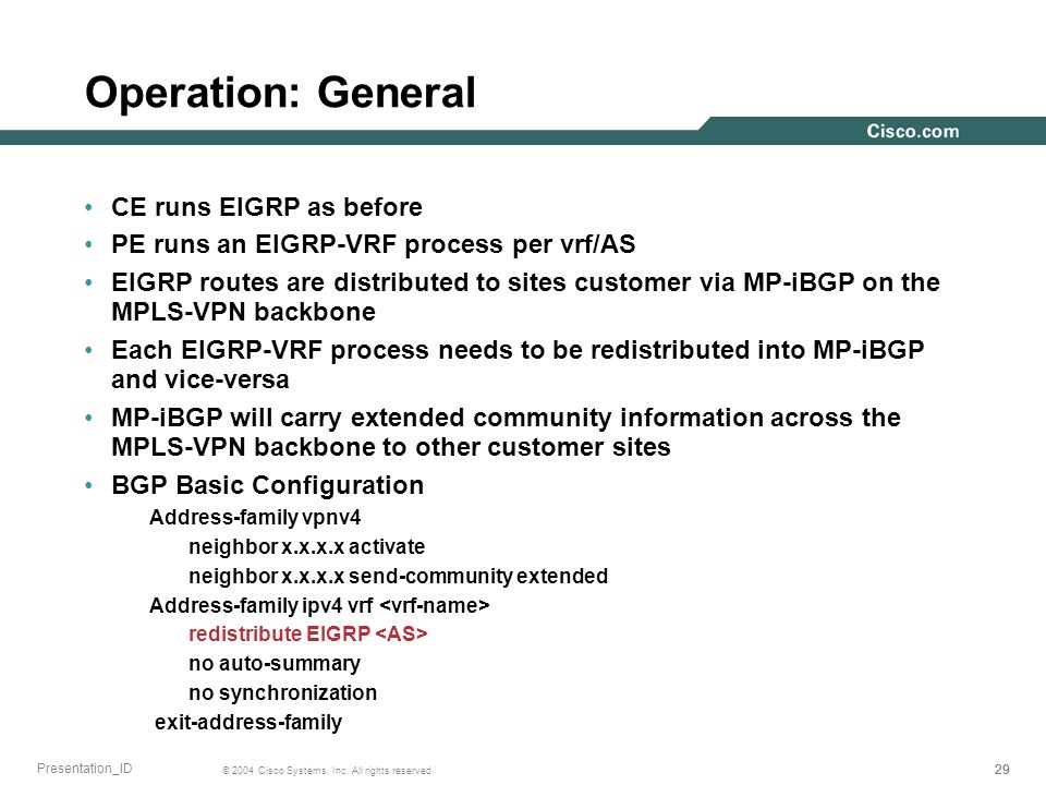 Operation: General CE runs EIGRP as before