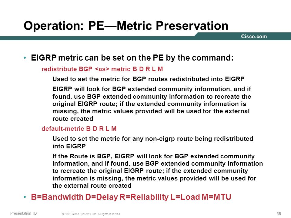 Operation: PE—Metric Preservation