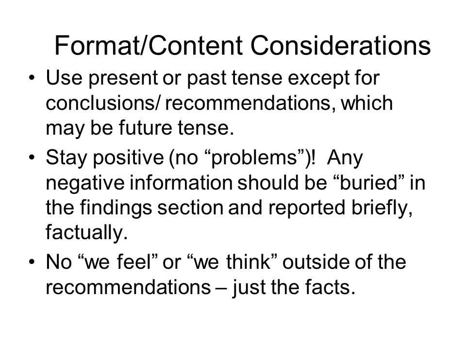 Format/Content Considerations