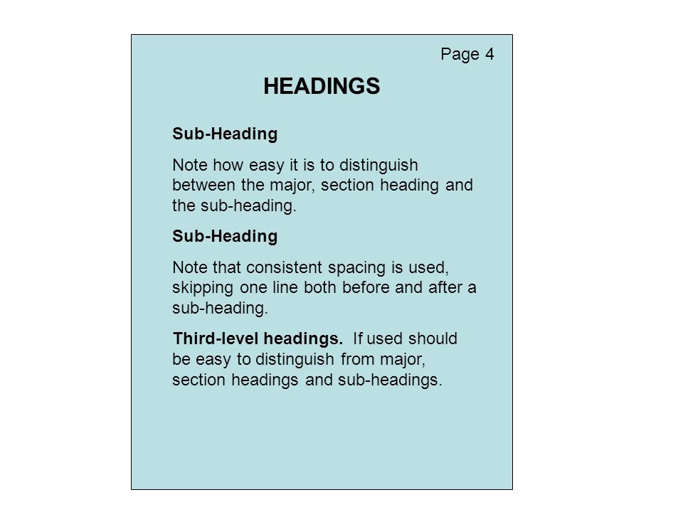 HEADINGS Page 4 Sub-Heading