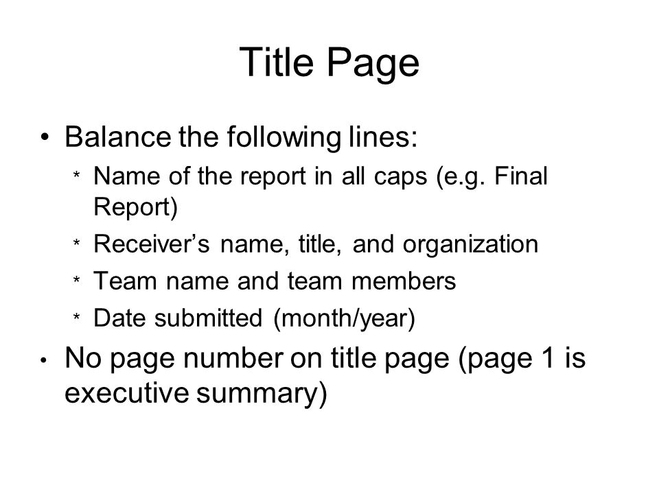 Title Page Balance the following lines: