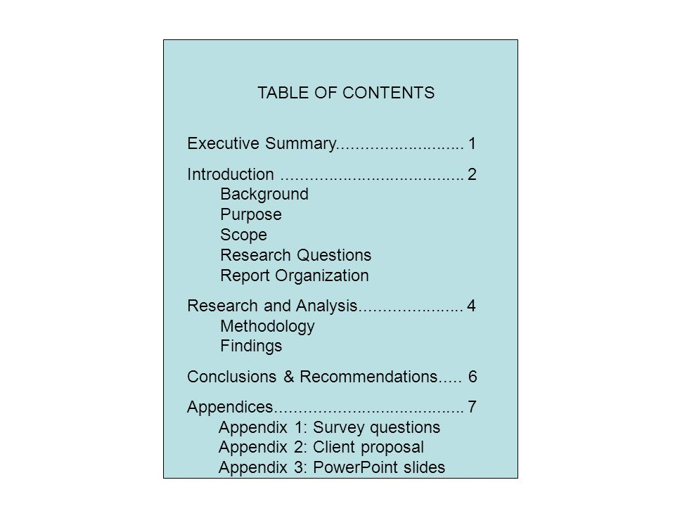 TABLE OF CONTENTS Executive Summary........................... 1.