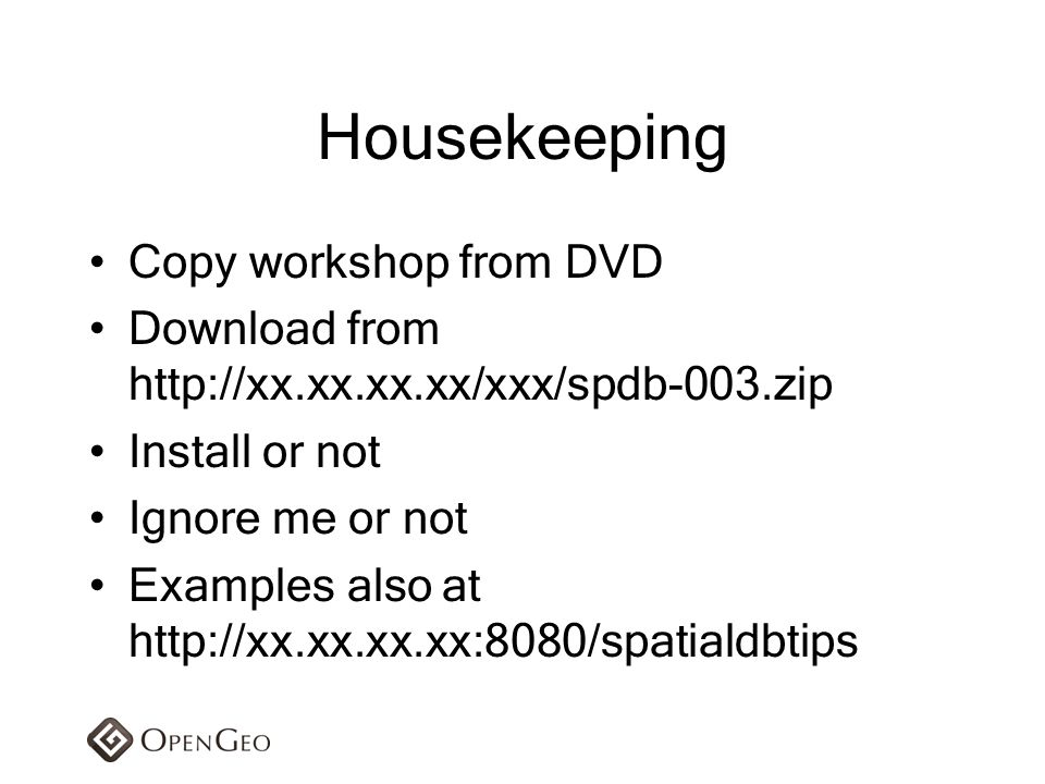 Housekeeping Copy workshop from DVD