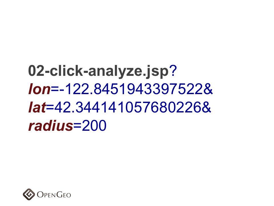 02-click-analyze.jsp lon=-122.8451943397522& lat=42.344141057680226& radius=200