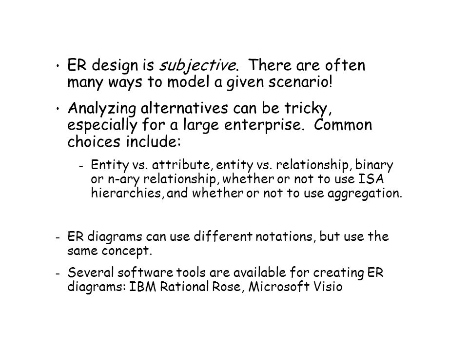 ER design is subjective