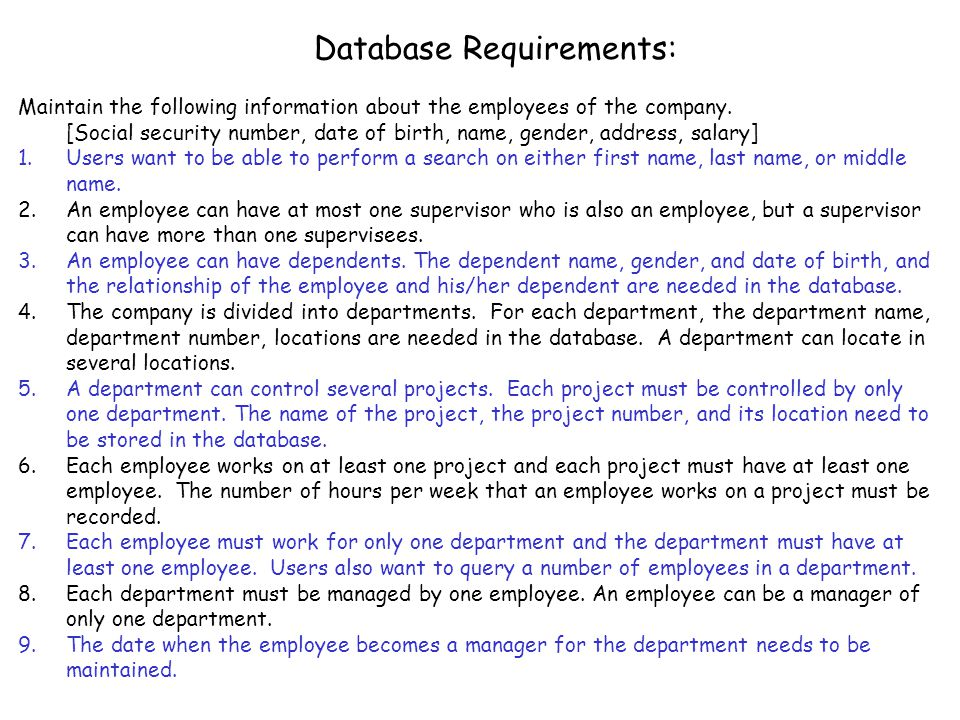 Database Requirements:
