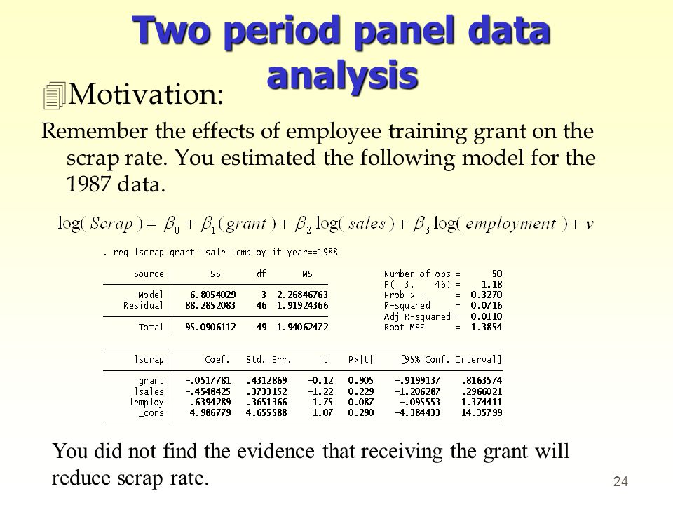 Two period panel data analysis
