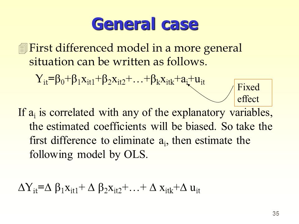 General case First differenced model in a more general situation can be written as follows. Yit=β0+β1xit1+β2xit2+…+βkxitk+ai+uit.