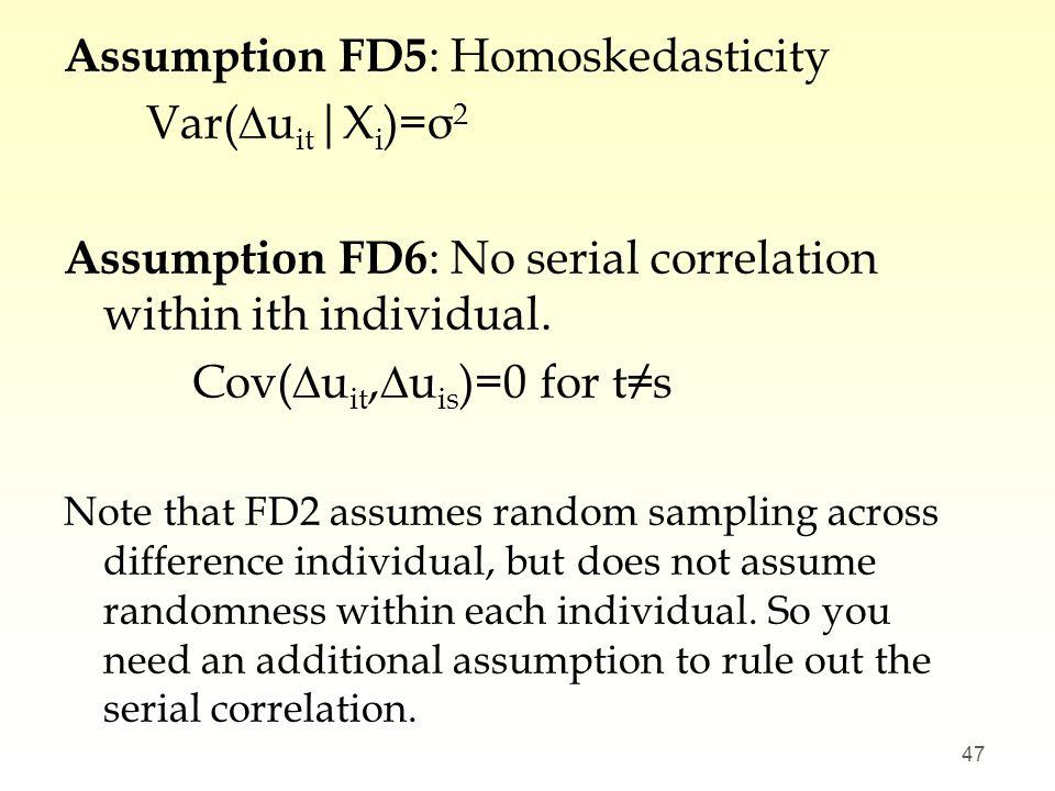 Assumption FD5: Homoskedasticity Var(∆uit|Xi)=σ2