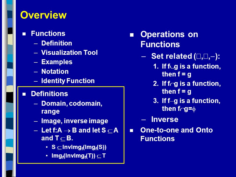 Overview Operations on Functions Set related (È,Ç,-): Inverse
