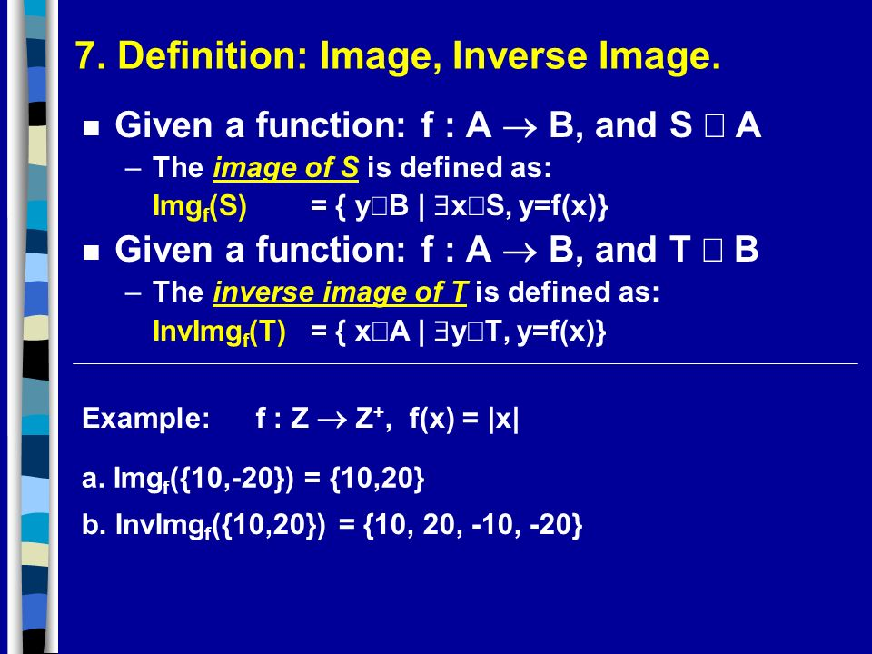 7. Definition: Image, Inverse Image.