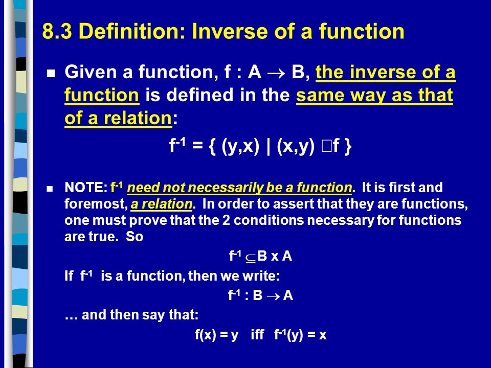 8.3 Definition: Inverse of a function
