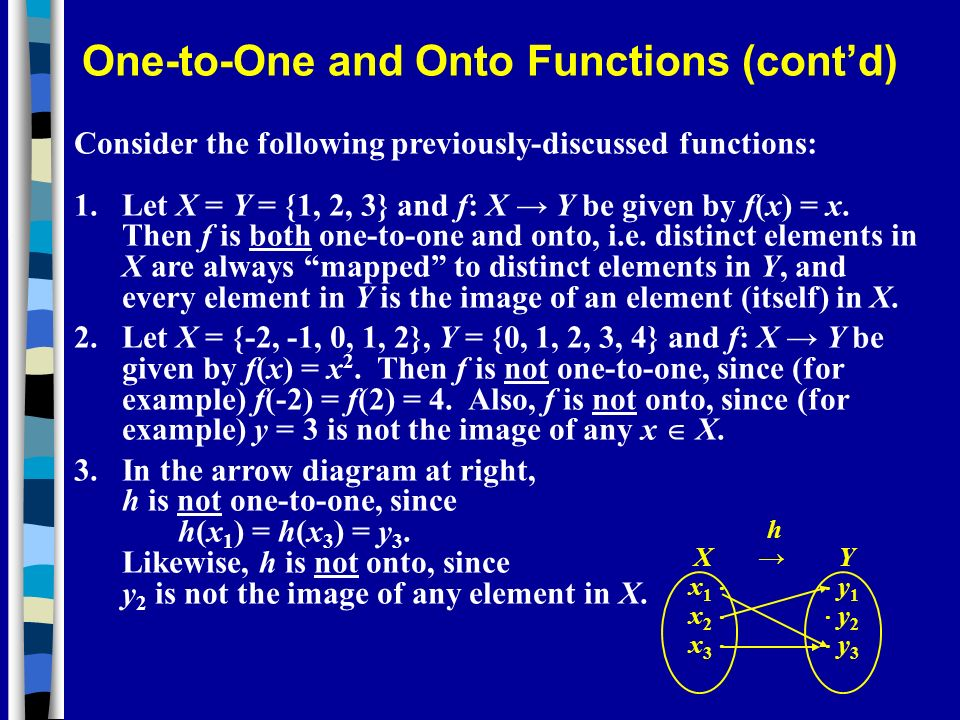 One-to-One and Onto Functions (cont'd)
