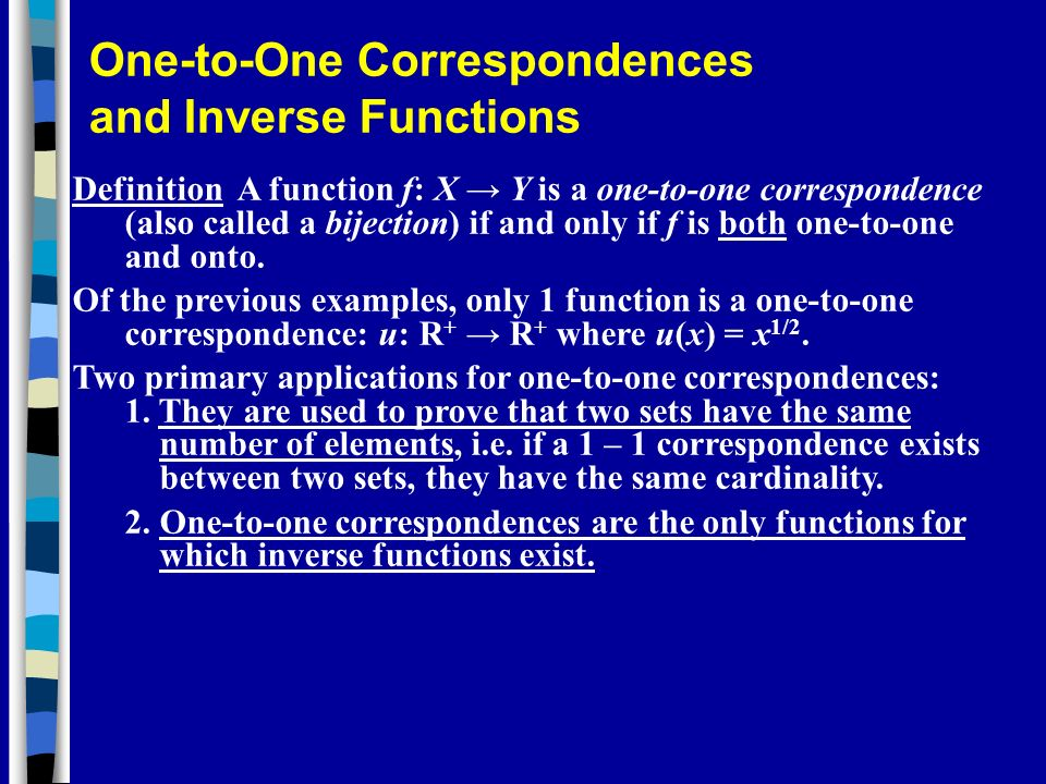One-to-One Correspondences and Inverse Functions
