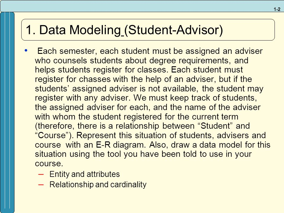 1. Data Modeling (Student-Advisor)