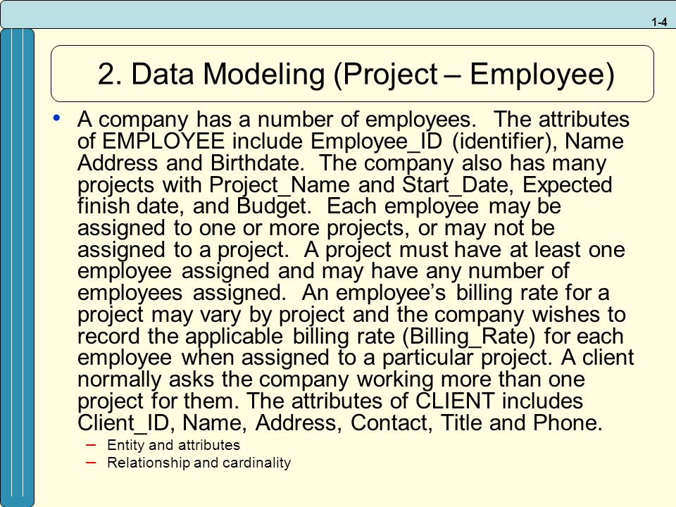 2. Data Modeling (Project – Employee)
