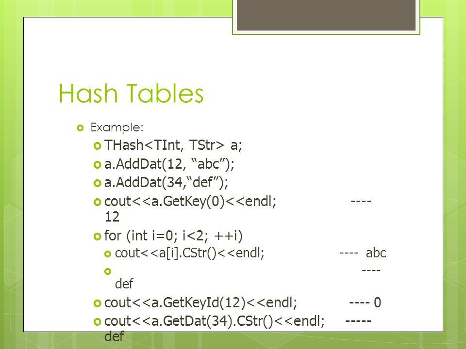 Hash Tables THash<TInt, TStr> a; a.AddDat(12, abc );