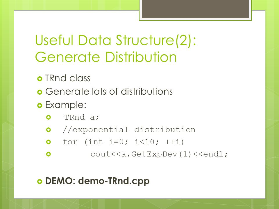 Useful Data Structure(2): Generate Distribution