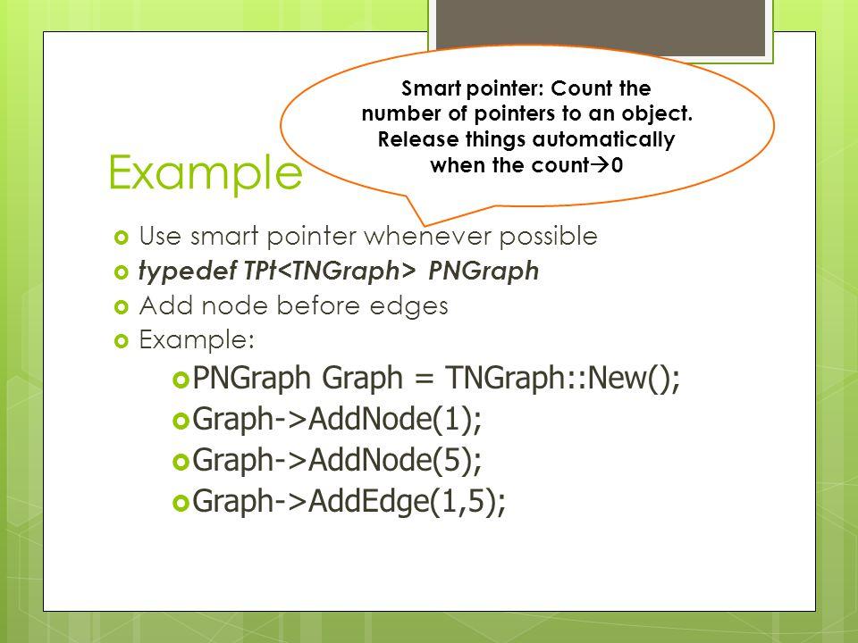 Example PNGraph Graph = TNGraph::New(); Graph->AddNode(1);