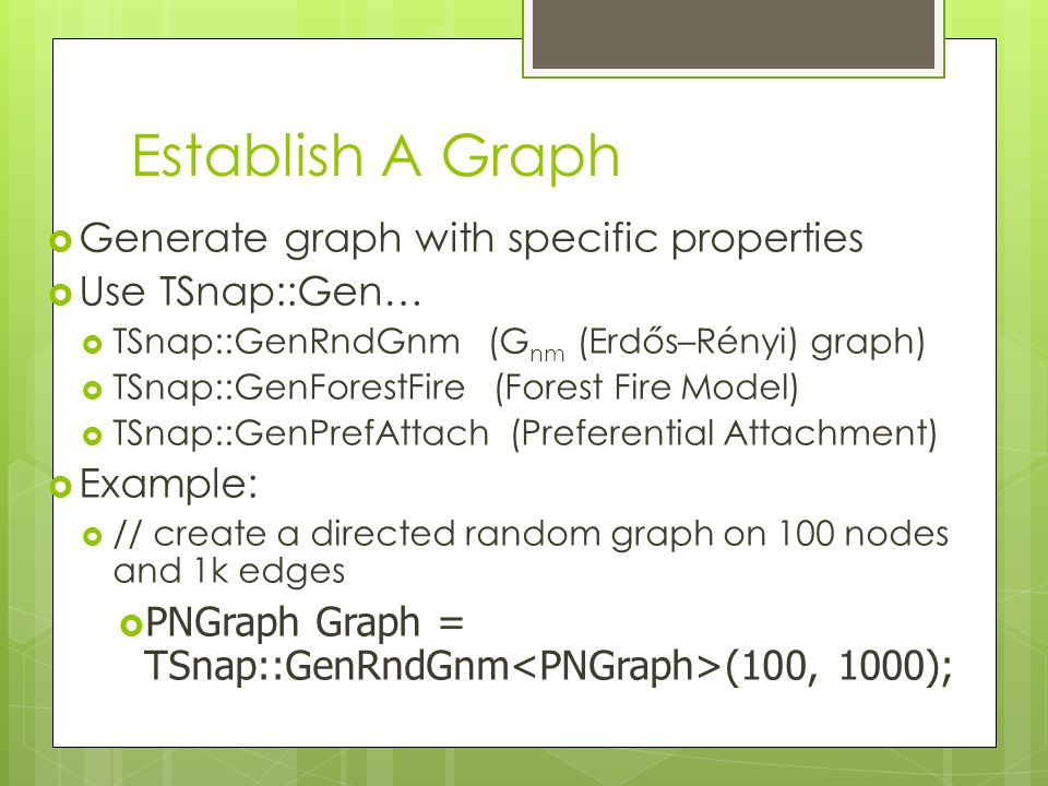 Establish A Graph Generate graph with specific properties