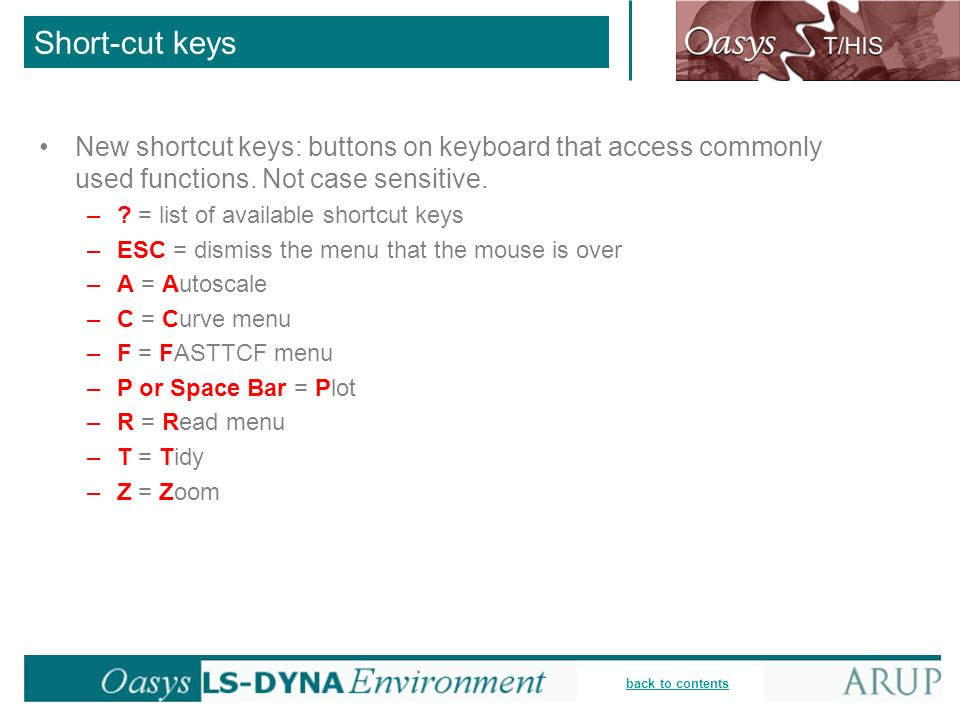 Short-cut keysNew shortcut keys: buttons on keyboard that access commonly used functions. Not case sensitive.