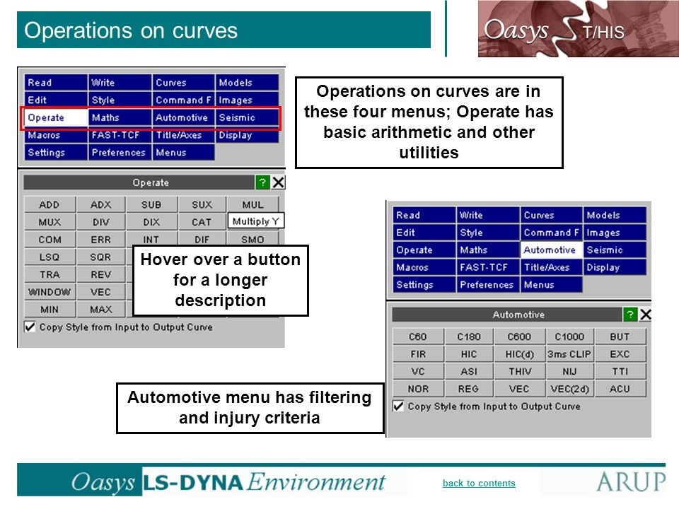 Operations on curves Operations on curves are in these four menus; Operate has basic arithmetic and other utilities.