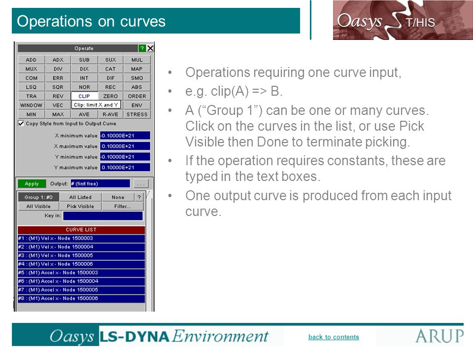 Operations on curves Operations requiring one curve input,