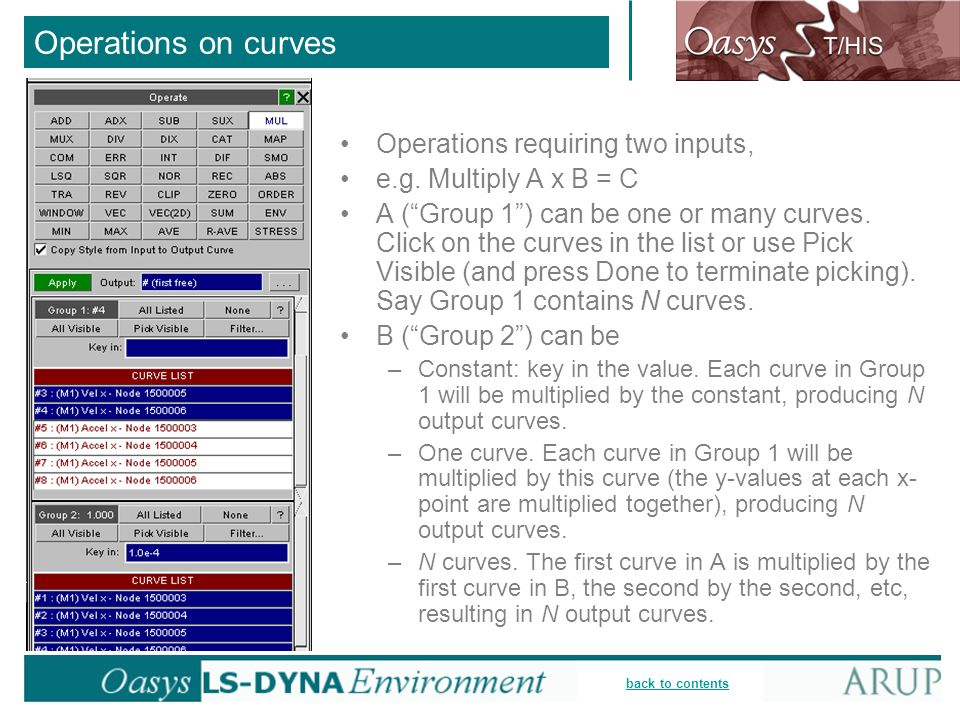 Operations on curves Operations requiring two inputs,
