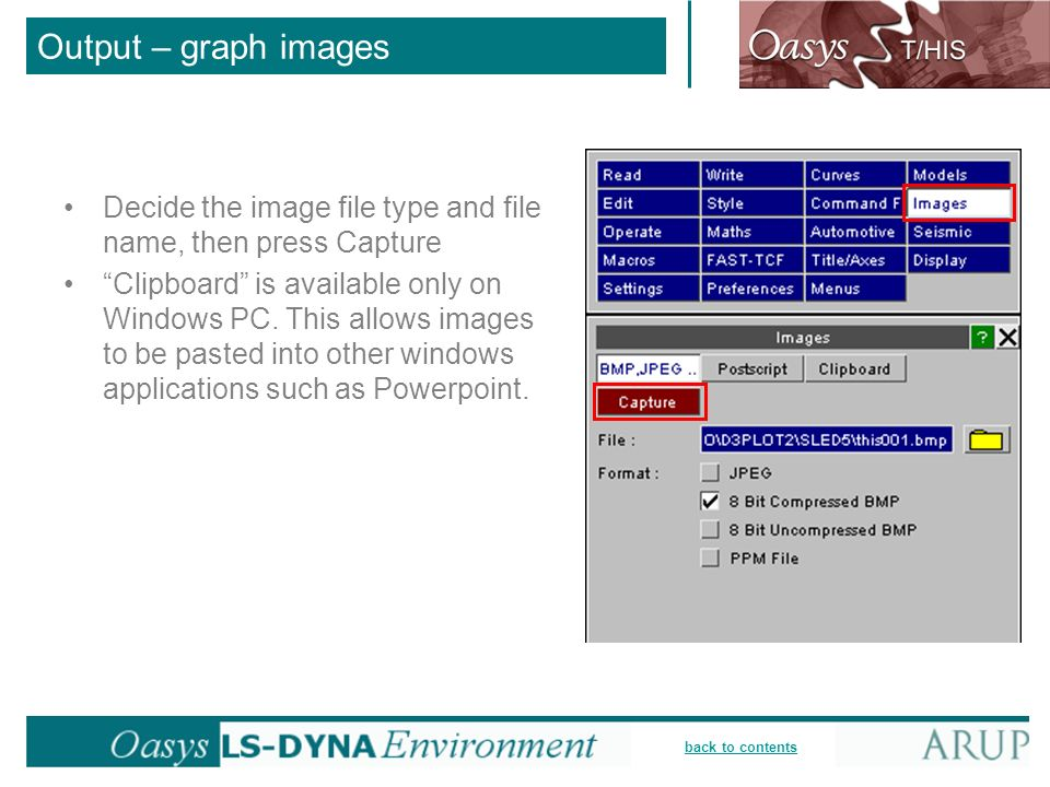 Output – graph images Decide the image file type and file name, then press Capture.