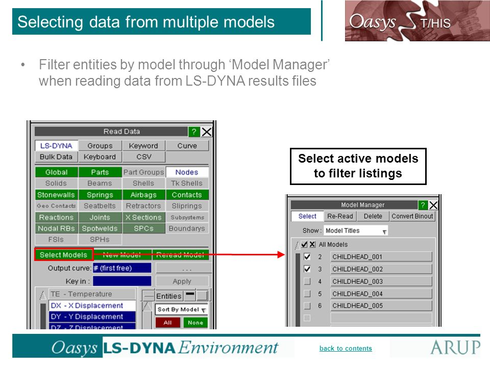 Selecting data from multiple models