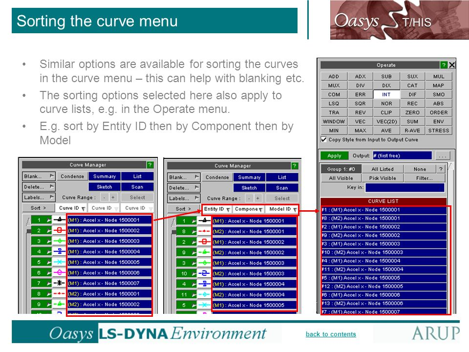 Sorting the curve menu Similar options are available for sorting the curves in the curve menu – this can help with blanking etc.