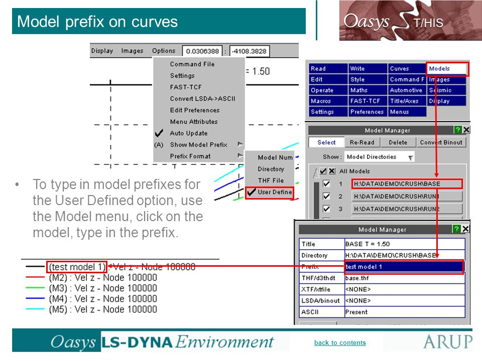 Model prefix on curves To type in model prefixes for the User Defined option, use the Model menu, click on the model, type in the prefix.