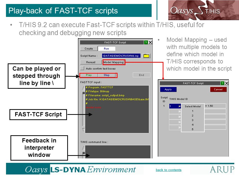 Play-back of FAST-TCF scripts