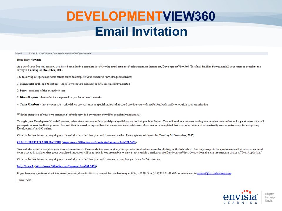 DEVELOPMENTVIEW360 Email Invitation