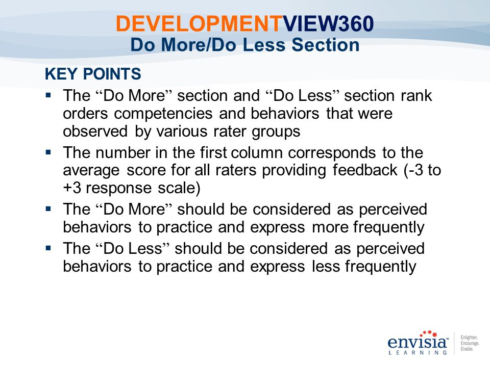 DEVELOPMENTVIEW360 Do More/Do Less Section