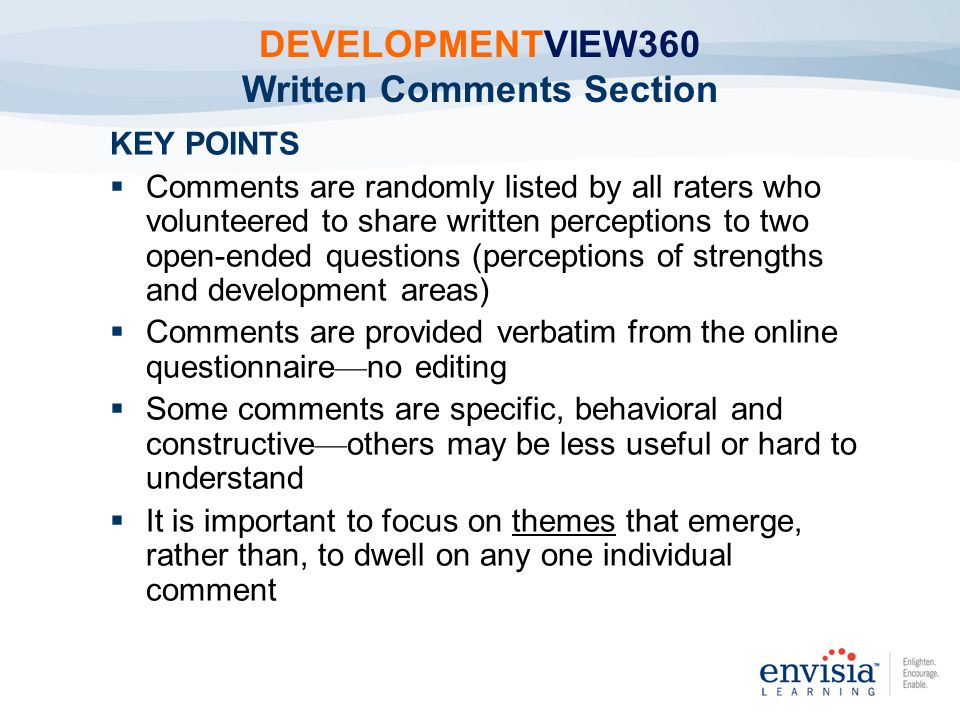 DEVELOPMENTVIEW360 Written Comments Section