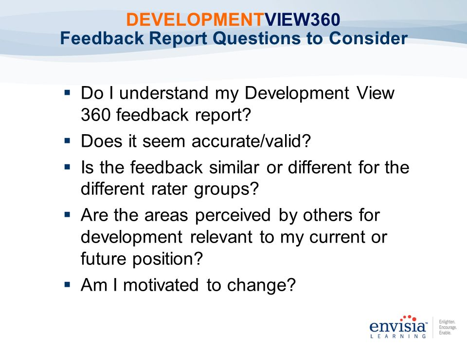 DEVELOPMENTVIEW360 Feedback Report Questions to Consider