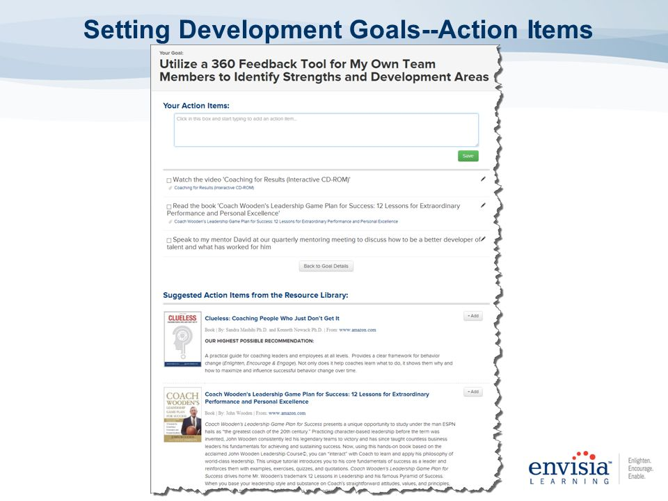 Setting Development Goals--Action Items