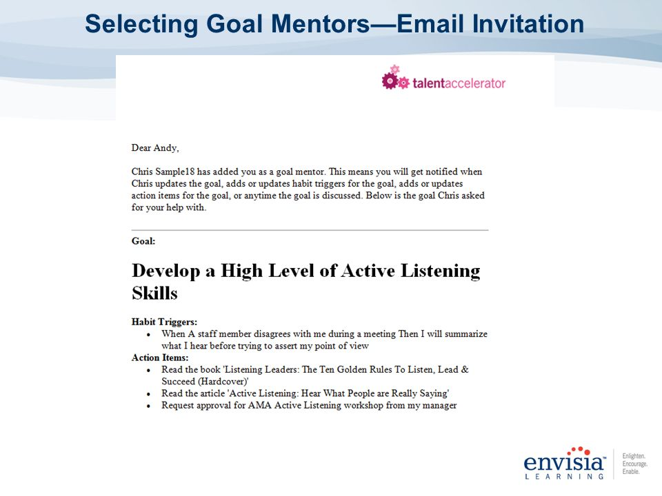 Selecting Goal Mentors—Email Invitation