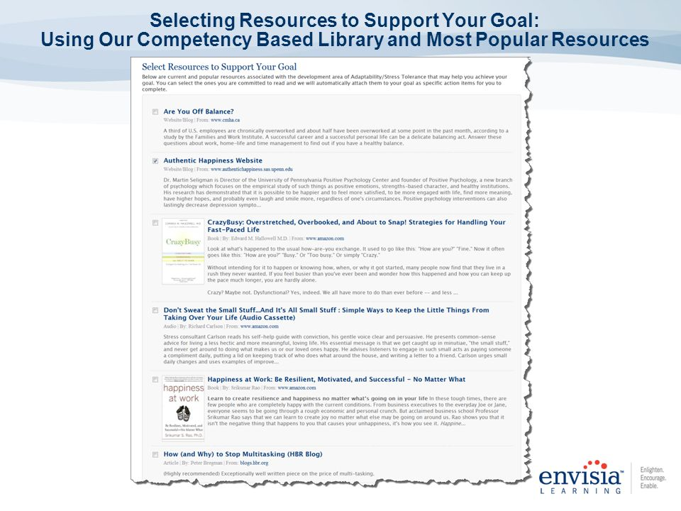 Selecting Resources to Support Your Goal: Using Our Competency Based Library and Most Popular Resources